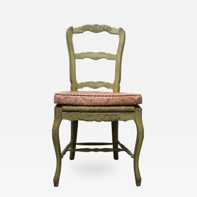 Pair of Green Painted Oak Louis XV Style Side Chairs