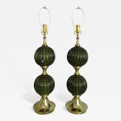 Pair of Green and Gold Murano Glass Ball Lamps