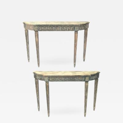 Pair of Gustavian Demilune Tables