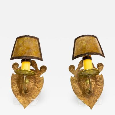 Pair of Hammered Copper and Brass Arts and Crafts Sconces with Mica Shades
