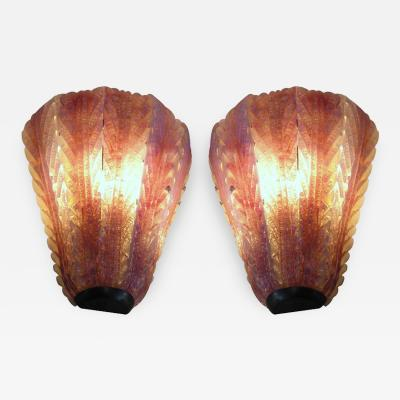 Pair of Hand Blown Glass and Brass Murano Sconces