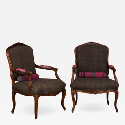 Pair of Hand Carved French Walnut Fautuils Armchairs