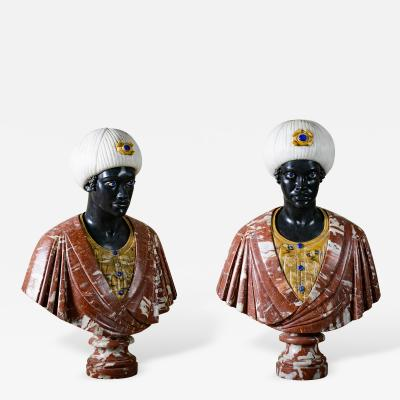 Pair of Hand Carved Italian Busts