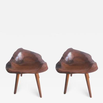 Pair of Hand Carved Mid Century Modern Craftsman Stools Slipper Chairs