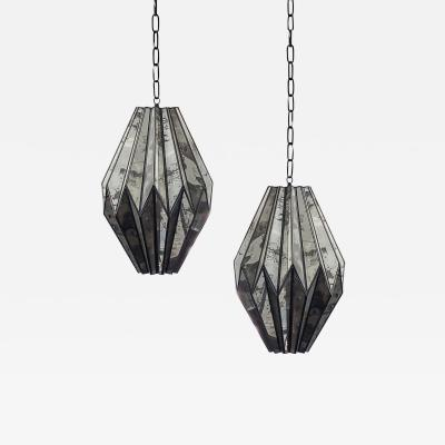 Pair of Hand Made Antiqued Mirror Pendant Lights