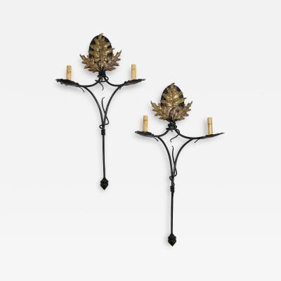 Pair of Hand Made Iron and Brass Sconces