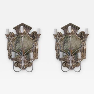 Pair of Hand Painted Chinoiserie Five Light Sconces