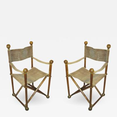 Pair of Hand Stitched Directors Chairs with Brass Hardware