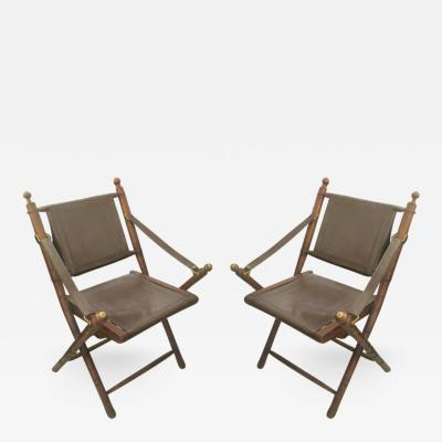 Pair of Hand Stitched Leather and Faux Bamboo Campaign Folding Chairs