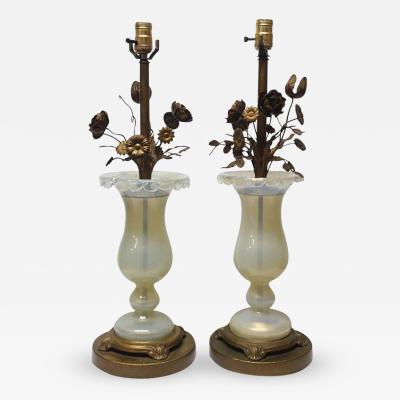 Pair of Handblown Murano Glass Lamps with Brass Flowers