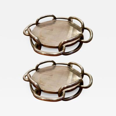 Pair of Handcrafted Polished Iron Chain Link Trays