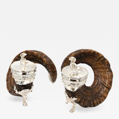 Pair of Handsome Rams Horn Snuff Mulls with Dog Finials Silver Mounts