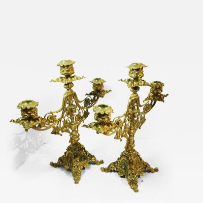 Pair of Heavy Brass Belle poque Three Light Candelabra Circa 1890
