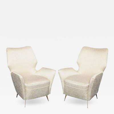Pair of High Back Armchairs Made in Milan