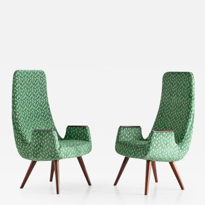 Pair of High Back Armchairs in Green Braqueni Velvet and Weng Wood 1950s