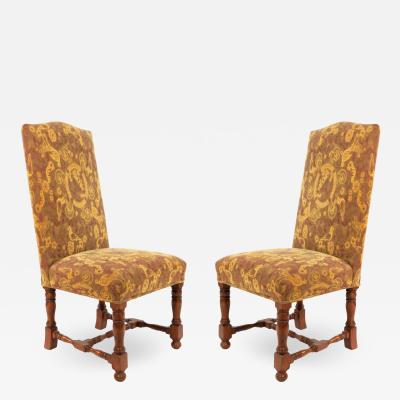 Pair of High Back Renaissance Style Dining Chairs with Floral Upholstery