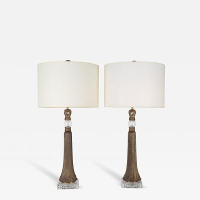 Pair of High Deco Bronze and Glass Tassel Lamps