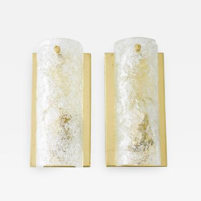 Pair of Hillebrand Wall Sconces in Brass and Glass 1960s