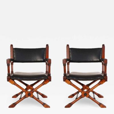 Pair of Hollywood Regency Black Leather X Base Director or Campaign Chairs