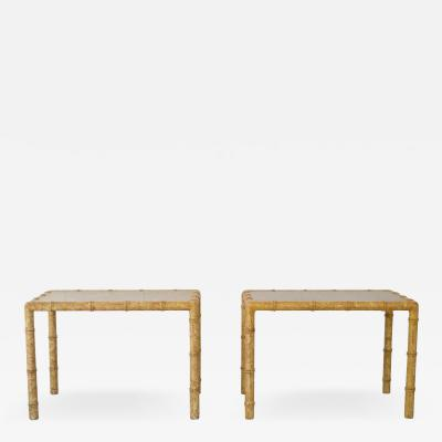 Pair of Hollywood Regency Faux Bamboo Side Tables