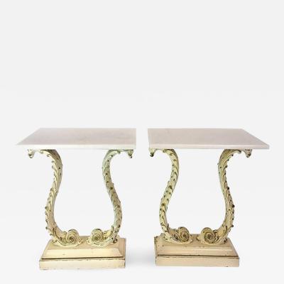 Pair of Hollywood Regency Plume Pedestal Side Tables