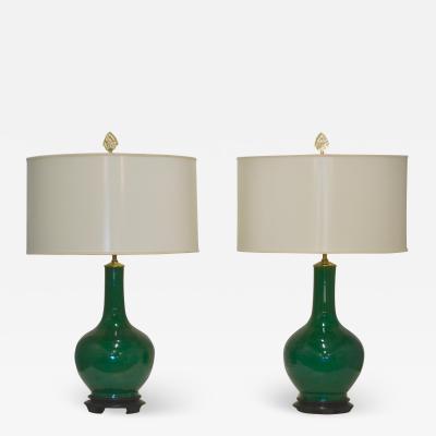Pair of Hollywood Regency Style Jade Green Ceramic Table Lamps