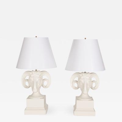 Pair of Hollywood Regency White Rams Head Lamps