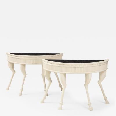 Pair of Hoof Foot Demi Lune Console Tables