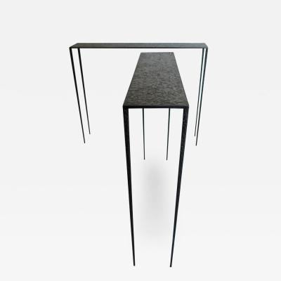 Pair of Important Black Brass Console Tables Essenziali Produced by CG 2018
