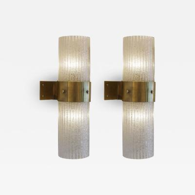 Pair of Imposing Glass and Brass Sconces Italy 1970s