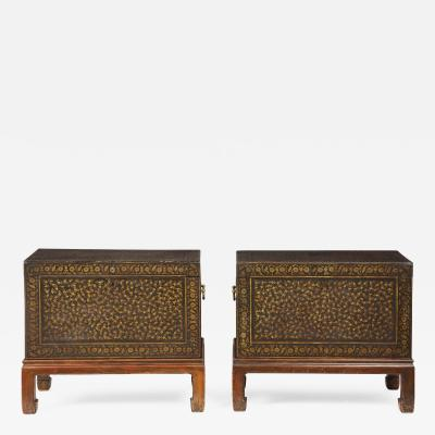 Pair of Indian lacquer trunks possibly from Bareilly with carrying handles