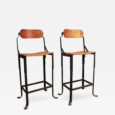 Pair of Industrial Domore Metal and Wood Adjustable Vintage Bar Stools