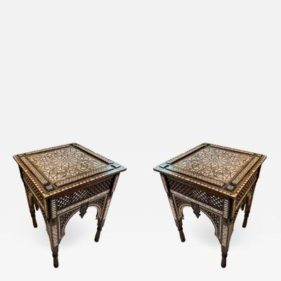 Pair of Inlay Mother of Pearl Wood Syrian Side Tables