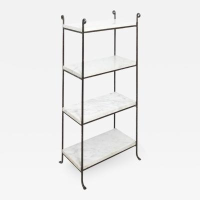 Pair of Iron and Marble Shelves