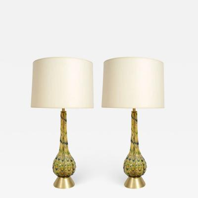 Pair of Italia Mid Century Green and Blue Murano Glass Table Lamps