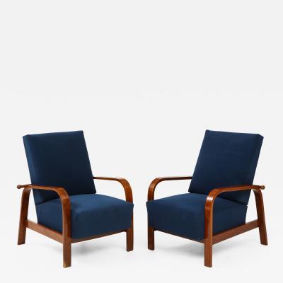 Pair of Italian 1930s Reclining Armchairs