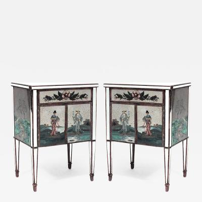 Pair of Italian 1940s Mirrored Bedside Commodes