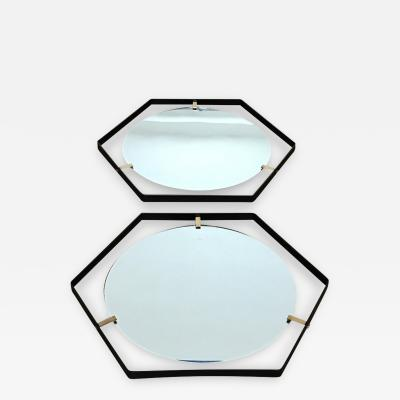 Pair of Italian 1950s Hexagonal Mirrors