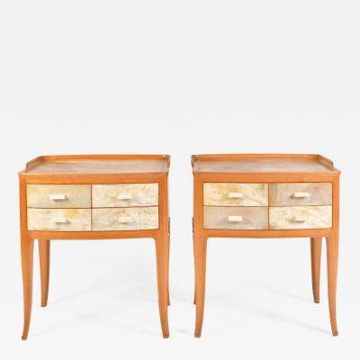Pair of Italian 1950s Marbled Parchment Bedsides Nightstands