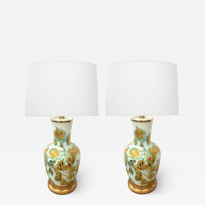 Pair of Italian 1950s Painted Porcelain Lamps for Marbro Lamp Co Los Angeles