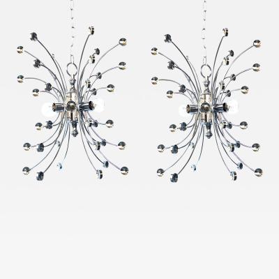 Pair of Italian 1960s Chromed Steel 6 light Farfalla Butterfly Pendant Lights
