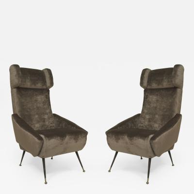 Pair of Italian 1960s Grey Velvet Upholstered Stylized Wing Back Armchairs