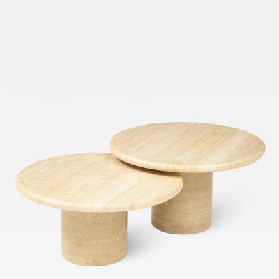 Pair of Italian 1970s Travertine Circular Coffee Tables