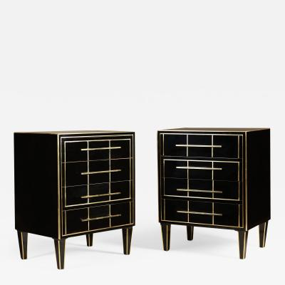 Pair of Italian 1970s black glass chest of drawers