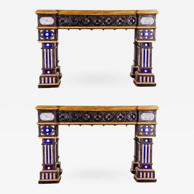 Pair of Italian 19th Century Neogothique Console Tables