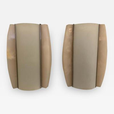 Pair of Italian Alabaster 1960s Space Age Wall Lamps