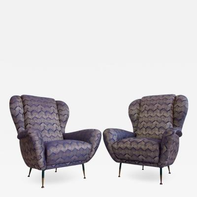 Pair of Italian Armchairs with Slim Brass Feet