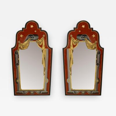 Pair of Italian Art Deco Style Red Gold and Grey Painted Eglomise Wall Mirrors