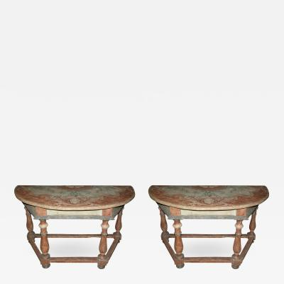 Pair of Italian Baroque Painted Demilune Console Tables