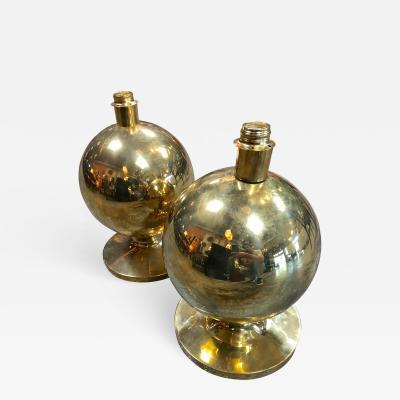 Pair of Italian Brass Globe Lamps 1960s